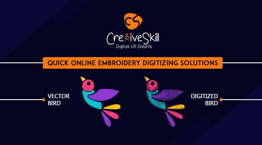 Quick Online Embroidery Digitizing Solutions by Cre8iveSkill