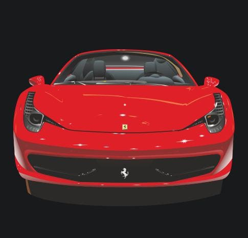 Red Beauty Car Vectorization