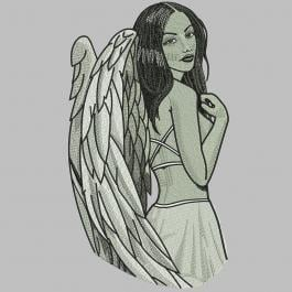 Lady Angel Embroidery Design