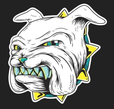 Embroidery Digitizing of a Bulldog's face before