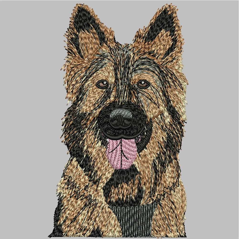 German Shepherd Embroidery After Digitizing