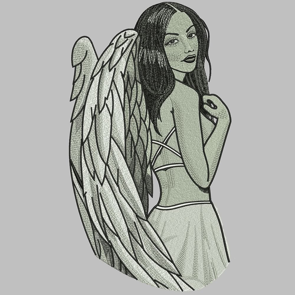 After Lady Angel Embroidery Design