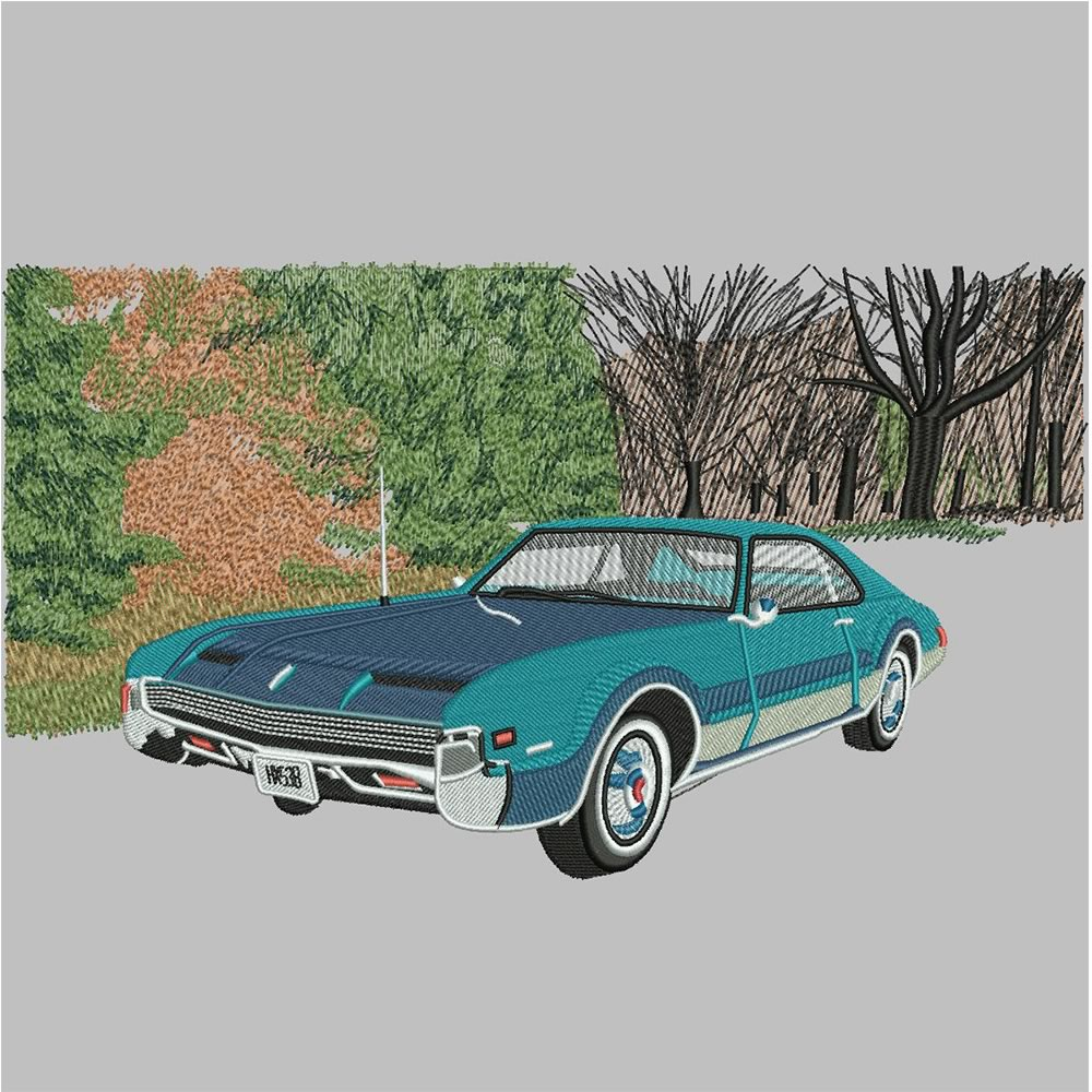 After Classic Car Embroidery Design