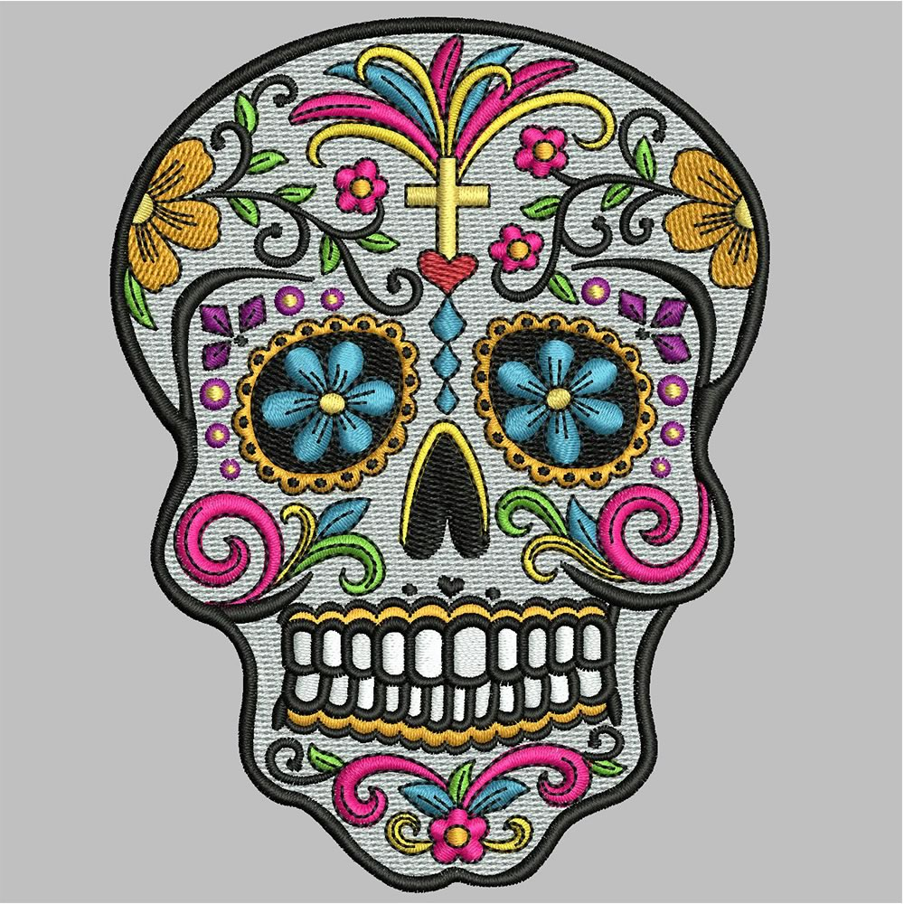 After Sugar skull embroidery