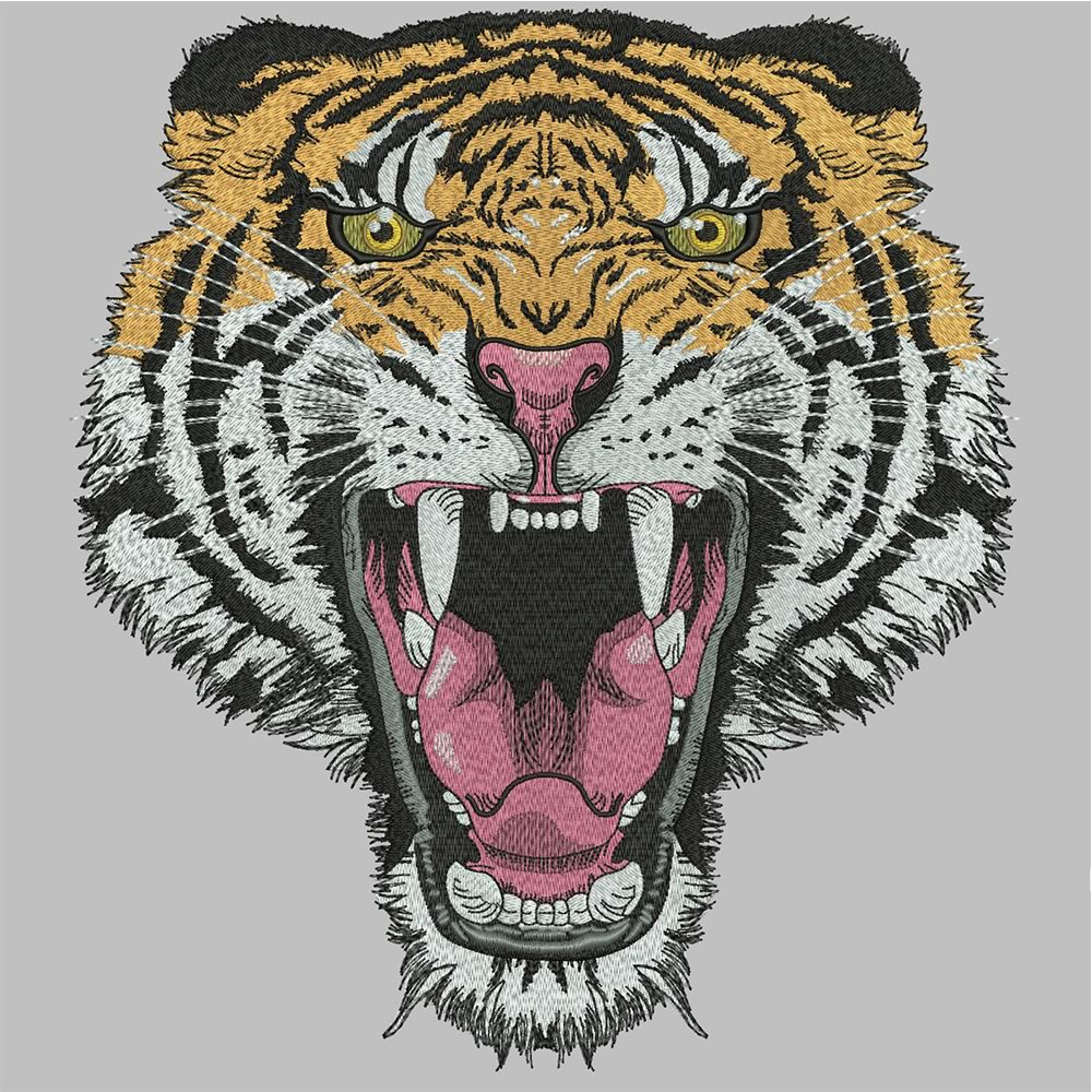 After Tiger Embroidery Design