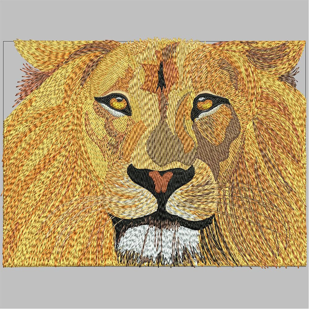 Lion Embroidery Design After