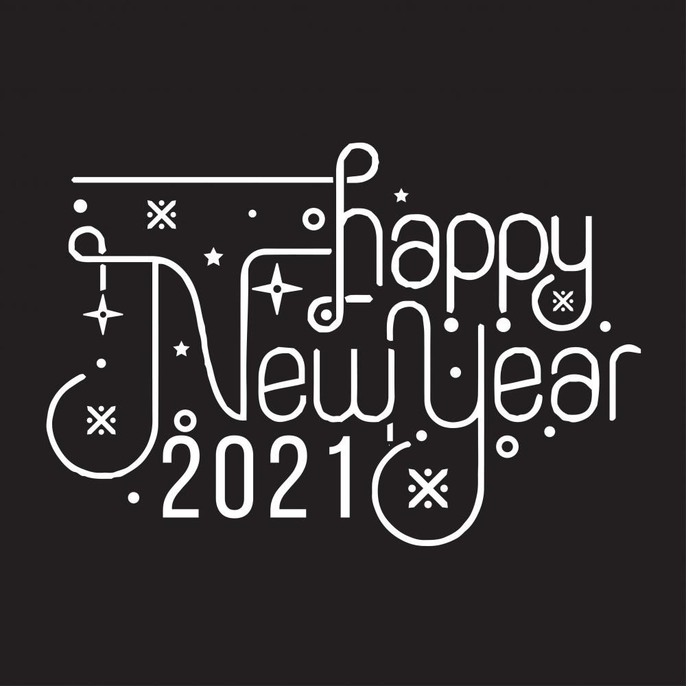 Happy new year Vector calligraphy