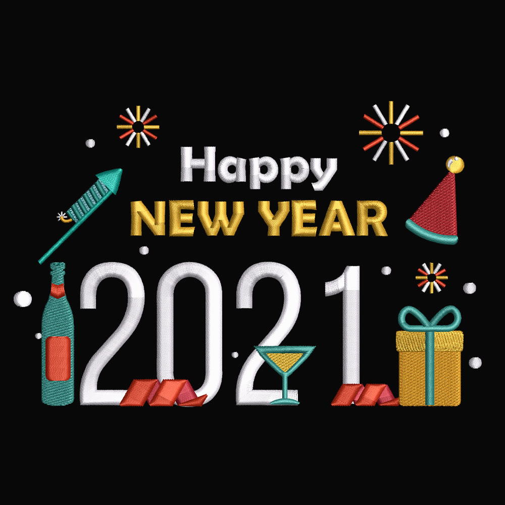 Embroidery design: Happy new year party