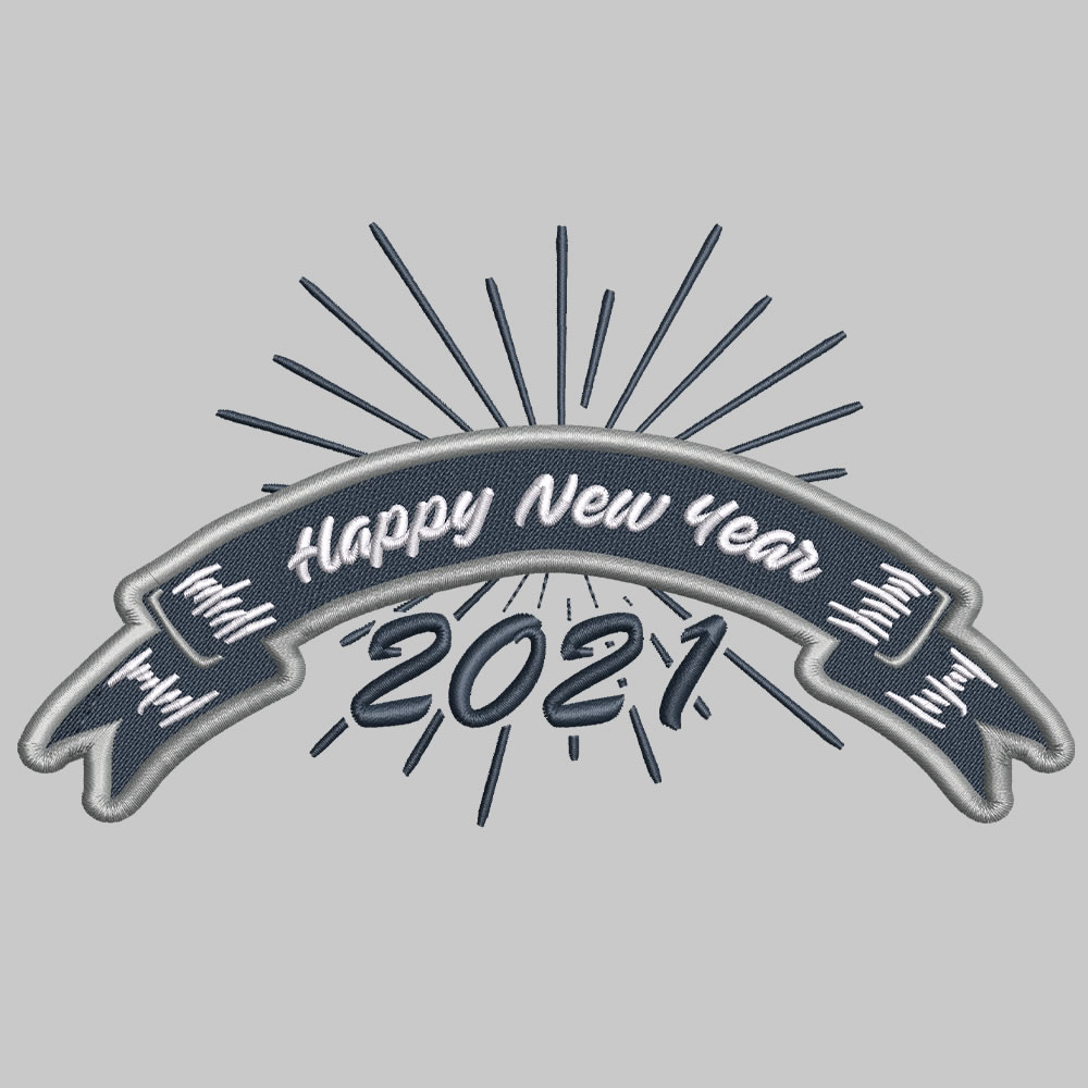 Happy new year digitized embroidery