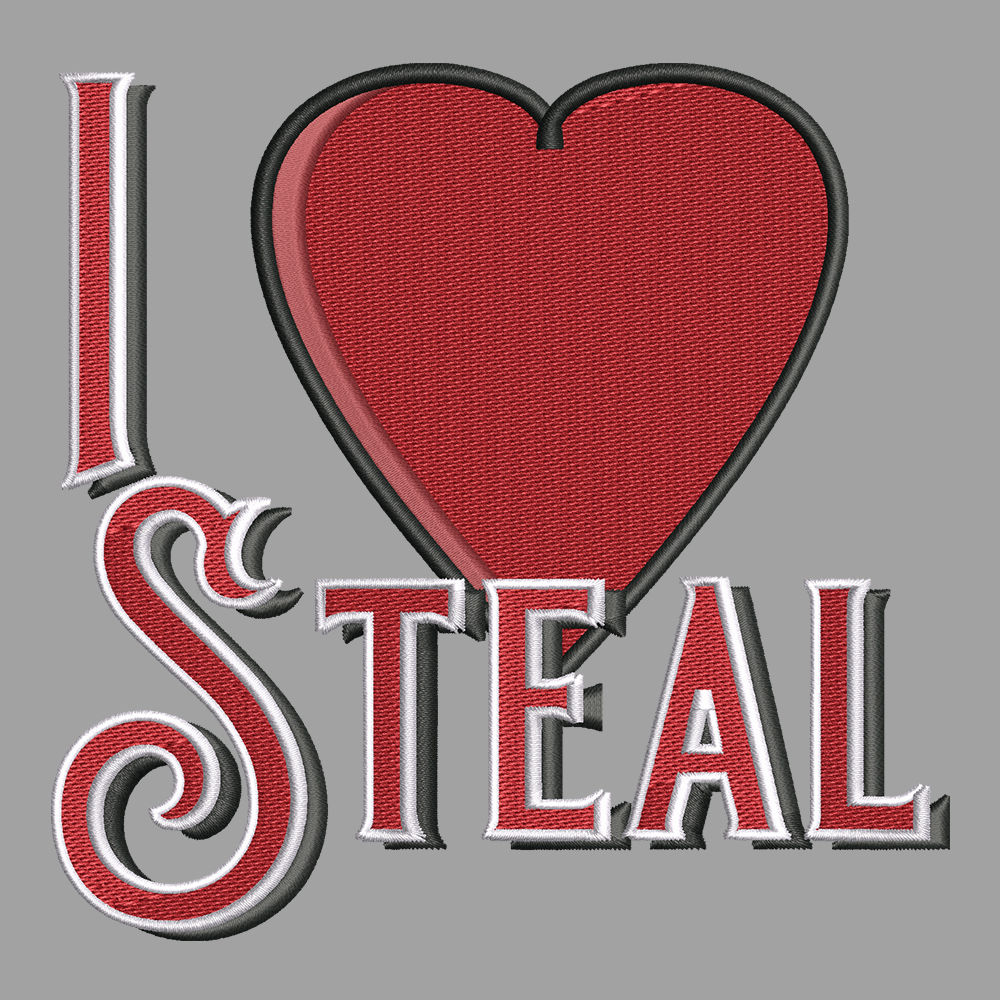 Embroidery Design: I Love Steal