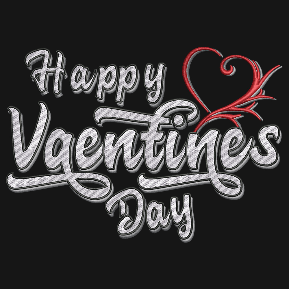 Embroidery Design: Happy Valentine's Day