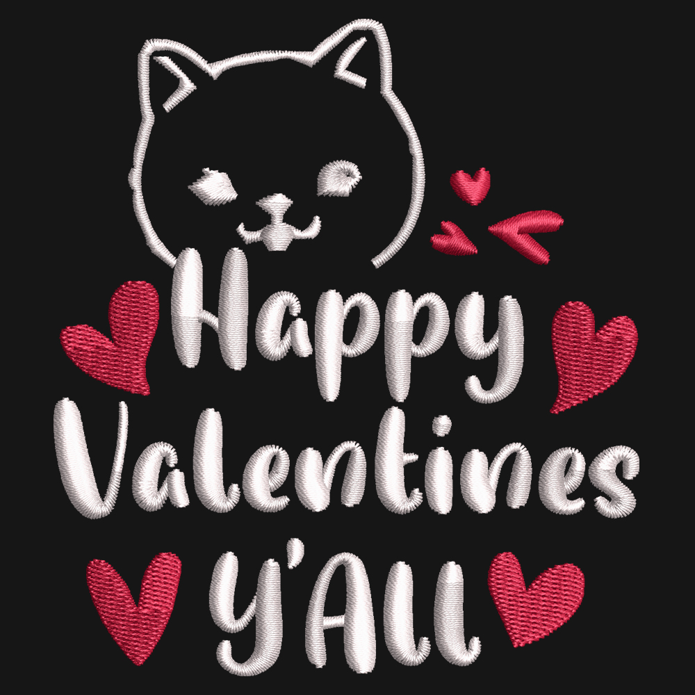 Embroidery Design: Happy Valentine Y'all