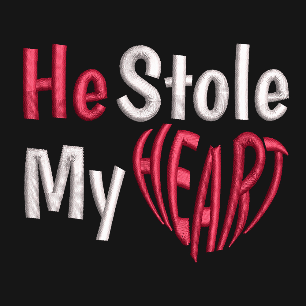 He Stole My Heart Embroidery Design