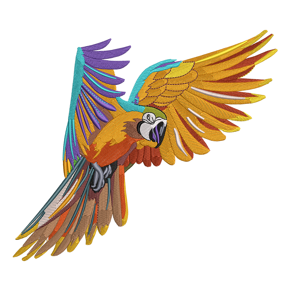 Embroidery Design: Colorful Parrot