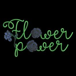 Embroidery Design Flower Power Blue Rose