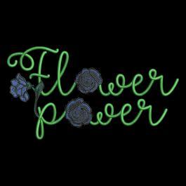 Embroidery Design Flower Power Blue Rose