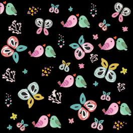 Vector Art: Bird And Butterfly Pattern