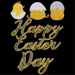 Happy Easter Day Embroidery Design