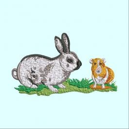 Hare And Bunny Embroidery Design