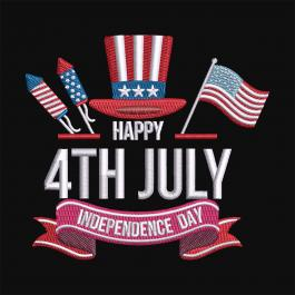 Happy 4th Of July Independence Day Embroidery design