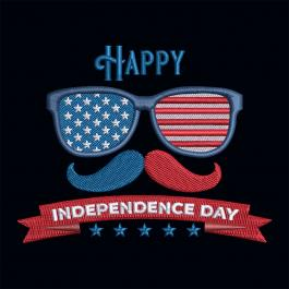American Flag Glasses Embroidery Design