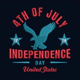 4th July American Eagle Embroidery Design