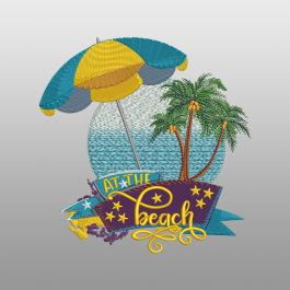 At The Beach Embroidery Design - Cre8iveSkill