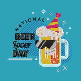 Beer Lover Day Celebration Embroidery Design-Cre8iveskill