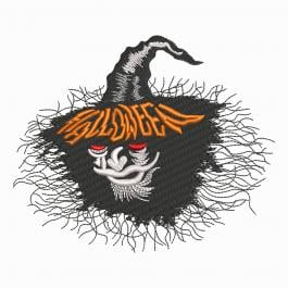 Scary Halloween Face Digitized Embroidery Design