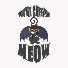 Halloween Creepy Meow Embroidery Design | Cre8iveSkill