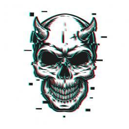 Glitch Skull Face Vector Art Design-Cre8iveSkill