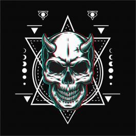 Demon Head Skull Vector Graphics Design-Cre8iveSkill