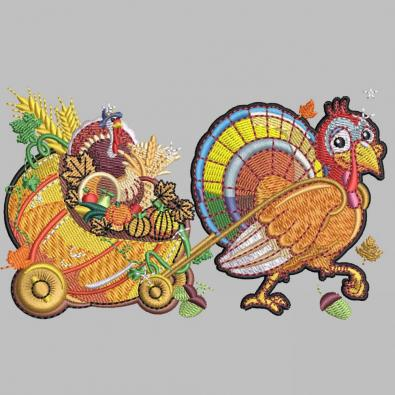 Turkey With Goodies Embroidery Design