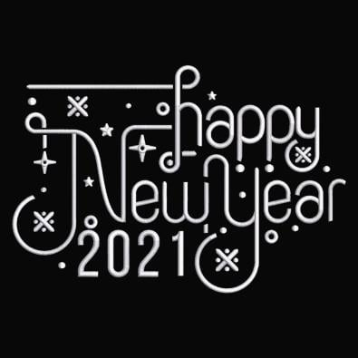 Happy New Year Calligraphy Embroidery Design
