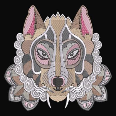 Egyptian Wolf Embroidery Design