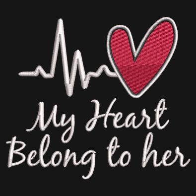 Embroidery Design: My Heart Belong To Her