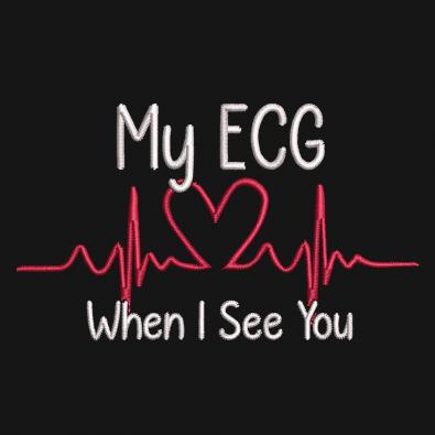 ECG When I See You Embroidery Design