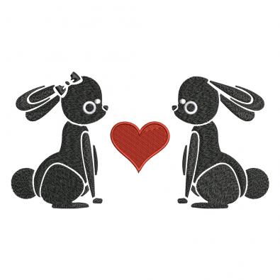 Embroidery Design: Bunny In Love