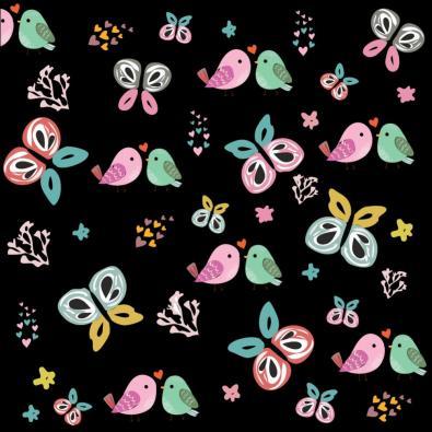 Vector Art: Bird And Butterfly Pattern