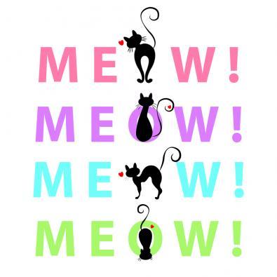 Meow Cat Vector Art Design