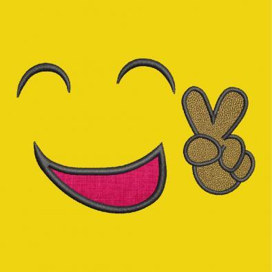 Victory Smiley Applique Embroidery Design