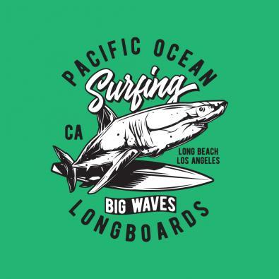 Pacific Ocean Surfing Vector Art