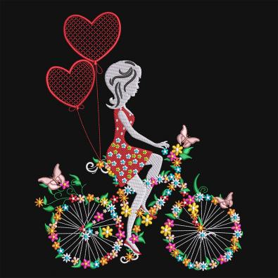 Cre8iveSkill's Embroidery Design Floral Bicycle With Girl