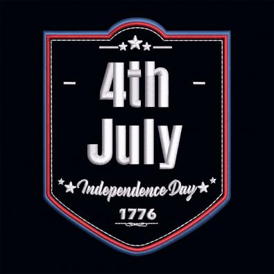 Fourth Of July Independence Day Embroidery Design