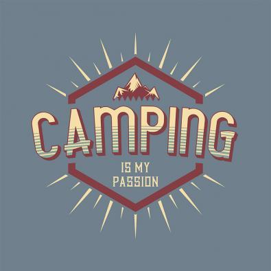 Mountain Camping Vector Graphic Design