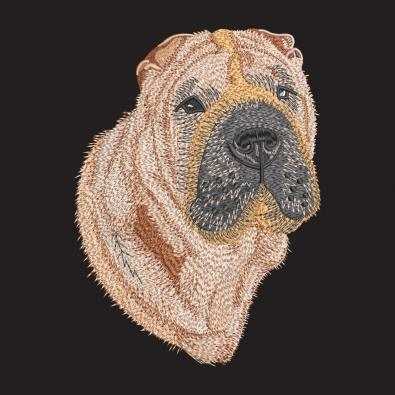 Shar Pei Dog Embroidery Design