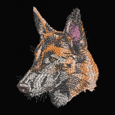 German Shepherd Embroidery Face