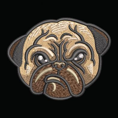 Mighty Pug Embroidery Design - Cre8iveSkill