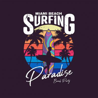Miami Beach Surfing Vector Graphics Design