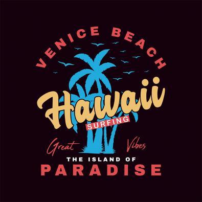 Hawaii Surfing  Vector Graphics Design